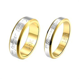 Wholesale Ring Forever Love Gold - Silver couple ring Hot Valentine's Day gift jewelry sets 10pairs lot 18K gold plated wedding ring of forever love