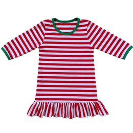 weihnachten nightgown 3t Rabatt Striped Girls Pyjamas Kleid aus Baumwolle Fawn Printed Baby Nachthemd Langarm Kinder Bedgrown Weihnachten Rüschen Mädchen Kleid