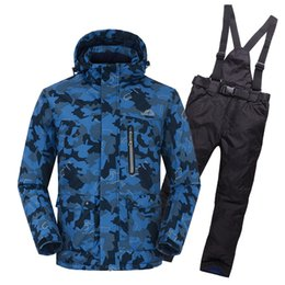 Wholesale Camouflage Winter Waterproof Clothing - Wholesale- Winter Men Ski Suit 2017 High Quality Men's Wear Camouflage Ski Jackets Waterproof Windproof suit clothes pants q1SKT01