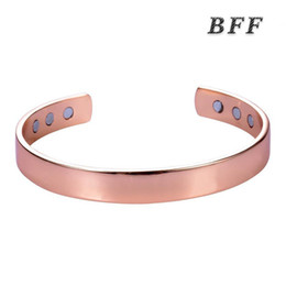 Wholesale European Brass Bracelet - 2017 new fashion high quality European and American style rose gold open U shape Magnetic brass Health Copper Split Diabetes Bracelet