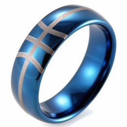 Wholesale Tungsten Carbide Men - SHARDON 8mm Men's Dome Blue Tungsten Carbide comfort fit Basketball design ring with white style lasering Wedding Ring for Men