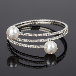 Wholesale Pear Sets - 2017 Luxury Crystal Bangles For The bride adorn article Women pear Bracelets & Bangles Femme Bridal Wedding Jewelry Bangles