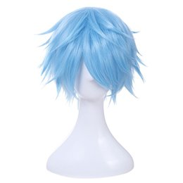 Wholesale Brand Wigs - Brand New Men Cosplay Wig 30cm 11.8inches Short Light Blue Heat Resistant Synthetic Hair Perucas Cosplay Wig for Men