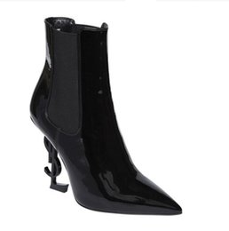 Wholesale Black Leather Ankle Booties - 2017 new arrival women sexy ankle boots special shaped heel roman boots point toe booties mujer botas patent leather fashion boots lady