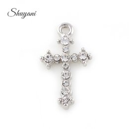 Wholesale Cross Bracelet Findings - Cross Charm Pendant with Rhinestone DIY Metal Floating Charms for Bracelet Necklace Jewelry Finding Making Accessories 27*15mm