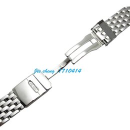 Wholesale Navitimer Strap - JAWODER Watchband 22mm Full Polished Stainless Steel Watch Band Strap Bracelet Accessories Silver Adapter for NAVITIMER MONTBRILLANT