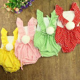 Wholesale Mink Balls - 4 color Hot selling Ins Baby kids girl 100% cotton ruffles sleeveless romper kids girl summer Dot prints and mink hair balls romper
