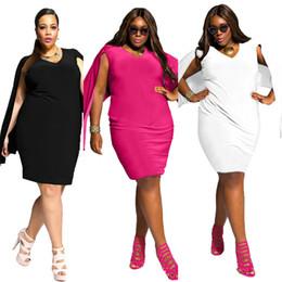 Wholesale Clothing Night Sexy - Plus Size Women Clothing Fashion Sexy V- Neck Bat Sleeve Plus Size Poncho Mini Party Dresses Black White L-3XL