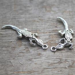 Wholesale Charms Crocodiles - 10pcs--Alligator Charms, Antique Tibetan Silver Tone 3D Can swing Alligator charm pendants,Crocodile charms,Jewelry 40x12mm