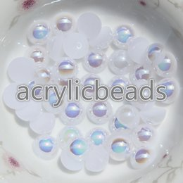 Wholesale Pearls Nail Art Heart - 1000PCS Factory 2MM AB Color Acrylic Imitation Half Round Flatback Plastic Pearl Beads Cabochon for Nail Art Phone Craft