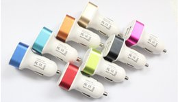 Wholesale Uk Adaptors - Car Charger Aluminum Cycle 5V 2A 2 USB Dual port Auto Power Adaptor for Smart phone 200pcs lot