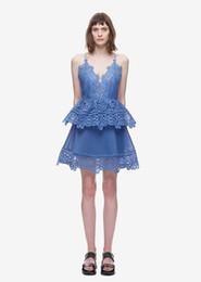 Wholesale Luxury Bandage Above Knee - v neck new backless Summer Women dresses Fashion mini above knee Blue Lace Runway Dresses Loose Luxury blue bandage Casual Dress 2017 spring