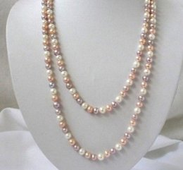 "Wholesale Natural Pink Pearl Necklace - Long 36"" 7-8mm Real Natural white & Pink & Purple Akoya Cultured Pearl Necklace"