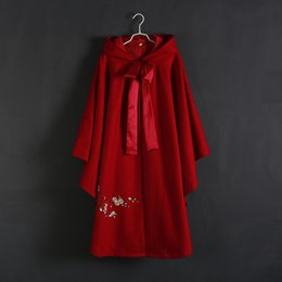 Wholesale Pink Coat Flared - China's dust coat female 2016 autumn hanfu in the fall and winter of the new female woolen embroidery cloak cloak a undertakes