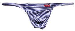 Rayas de lenceria online-# 11001BS hombres moda sexy bolso U de baja altura sin costura rayas cómodas algodón tanga tanga tanga ropa interior de hombre ropa interior cuecas