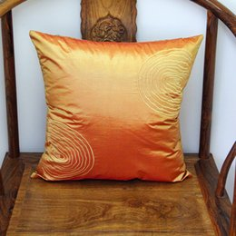 Wholesale Embroidered Sofa Fabrics - Plain Embroidery Annual Ring Cushion Pillow Cover for Seat Chairs Sofa Lumbar Back Cushion Satin Cloth Pillow Case Office Home Decorations