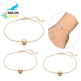 Wholesale Anklet Designs - Wholesale New Design Fashion Lady DIY Jewelry 18k Gold Plated Bead Emoji Charm Anklets for kids