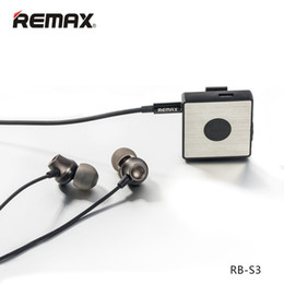 Wholesale Bluetooth Headset S3 - Remax RB-S3 Clip Bluetooth Headset Earphones Sports Magnet Stereo Headphone with Mic For Samsung Xiaomi MP3 MP4 MP5 High Quality