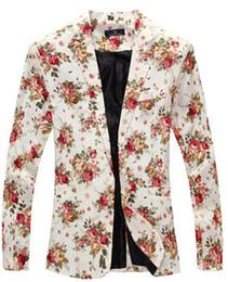 Wholesale Flower Suit Jacket - Wholesale- 9 color M-XXL men blazer slim fit 2014 men suit Cotton and linen flower cloth color matching leisure jacket suit men
