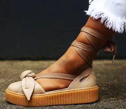 Wholesale Cheap Platform Sandals Women - Cheap Women's Bow Creeper Sneaker Sandals From Fenty X Rihanna Lace Up Sandal Sneakers Leather rubber Beige Silver Natural Sandals Platform