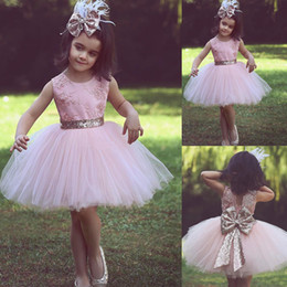 Wholesale Cheap Birthday Tutus For Girls - Cheap Pink Flower Girl Dresses For Country Wedding With Bow Kids Child Baby Sequined Tutu Ball Gown Party Pageant Birthday Formal Dresses