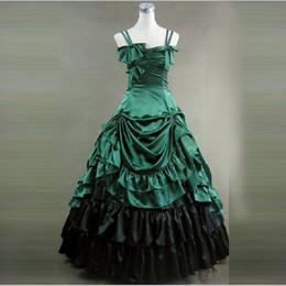 Vestiti di vestiario vittoriano online-Alta qualità Argento Spaghetti Strap Victorian Masquerade Party Abiti lunghi Rievocazione Abbigliamento Lolita Costume per le donne