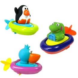 Wholesale Small Wind Up Toys - Wholesale- New born babies swim penguin,pelican,dinosaur wound-up chain small animal Baby Children bath toy classic toys bathroom water toy