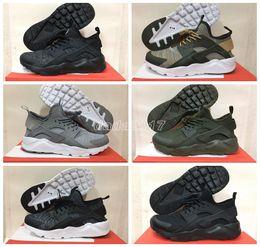 Wholesale Breathe Design - 2017 New Design Air Huarache 4 Triple Black Mesh Huraches Sneakers Ultra Breathe Men And Women Green Huaraches Running Shoes Size 36-44