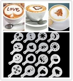 pastiglie melaminiche Sconti 16 Pz / set Moda Cappuccino Caffè Barista Stencil Template Cospargere Pad Spolverino Gusto Nespresso zavarnik dolce Strumenti
