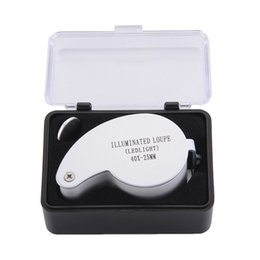 Wholesale Loupe Magnifying Glass Illuminated - Illuminated Loupe Ledlight 40X-25MM MG21011 40x25mm Jeweler Loupe MINI Illuminated Magnifier Foldable Magnifying Glass Lens with 2 LED Light