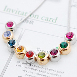 Wholesale Colorful Necklaces Crystals - Nine stories Nine Colorful mood Crystal 18K Gold Plated or Silver Alloy Necklace for WORLD ENVIRONMENT DAY