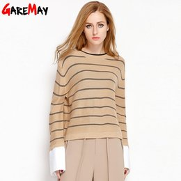 Wholesale Thin Sweaters For Women Loose - Striped Women Sweaters Knitted Pullover Long Sleeve Top Loose Sweater White O Neck Sueter Mujer Knitwear Tops For Ladies GAREMAY