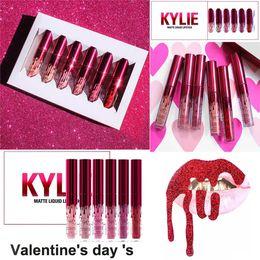 Wholesale Free Gift Shipping - 2017 New Kylie Jenner lipgloss Valentine Edition beautiful 6pcs Set Kylie Lipstick Liquid Matte Lip gloss Valentine Gift free shipping