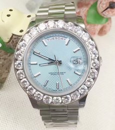 Wholesale Big Face Mens Sports Watches - Fashion Light Blue Face Stainless Steel Day Date Dial President Big Diamond Bezel Mens Mechanical Watches Automatic Men Luxury Wristwatches