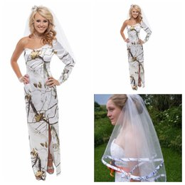 Wholesale Long Floor Length Veil - One Shoulder Long Sleeves Sheath White Camo Wedding Dress Split With Veil Custom Made Bridal Gowns Country Long Vestidos De Mariage