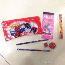 Wholesale Wholesale Stationery Sets - Frozen Spiderman Hello Kitty Princess Pencils Cases Stationery sets bags for School students Kids Pencil Pouch sharpener eraser