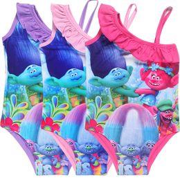 Wholesale Girls Cartoon Swimsuit - Cartoon Trolls One Pieces Girls Swimwear BathNet yarn Swimsuit Kids Ruffled Swimming Suit Children Bathing Suit Birthday Gifts G045