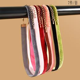 Wholesale Necklace Pcs Set - Wholesale- 7 Pcs Set New fashion Women Colorful Velvet Choker Necklace Femme bijoux collier ras du cou strip Retro chockers jewelry Mujer
