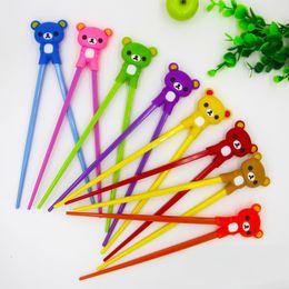 Wholesale Baby Exercise - Kawaii Silicone Easily Bear Resin Baby Exercise Training Chopsticks Colorful Cartoon Bear Children Learning Chopsticks WA1966