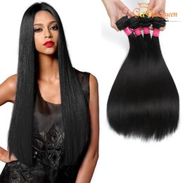 Wholesale dyeable brazilian human hair - Brazilian Virgin Hair Straight 4 Bundles Human Hair Extensions Gaga Queen Hair Products 8A Brazilian Human Weaves Dyeable Natural Color