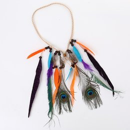 Wholesale Wholesale Gypsy Headbands - 5pcs hair headbands for women Gypsy Indian hippie tassel headband feather beads hair ornaments free shipping