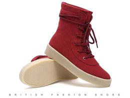 Wholesale Sexy Red Ankle Boots - Handmade brand High Boots Kanye west Shoes FOG Leather Casual seasoHandmade brand High Boots Kanns Mens Platform Sexy Motorcycle Black Shoes
