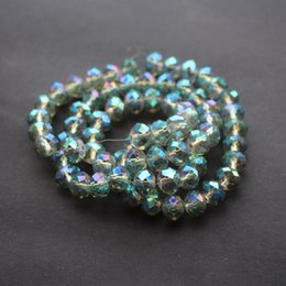 Wholesale Glass Bead Strands Wholesale - 70Pcs Strand 10mm*8mm Glass crystal beads Loose Rondelle Green AB Plated Color Jewelry accessoires