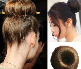 Wholesale Hair Bun Donut Ring - 2016 Women DIY Charming Boho Bohemian Fashion Hair Synthetic Chignon Hair Bun Ring Donut Roller Hairpieces