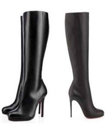 Wholesale Ankle Boot Pumps - 85mm   100mm   120mm Thin Heels Loubs Red Bottom Boots Fifi Botta red soles boots platform pumps black leather woman knee-high boot Winter