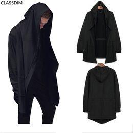 Большие свитера падения онлайн-Мужская большой размер кардиган с капюшоном свитер мужчины осень черный плащ куртка удлиненный Уличная мода размер M-5XL