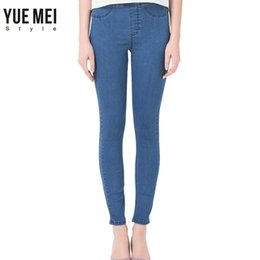 Wholesale Blue Colored Pencils - Wholesale- 2017 Woman Jeans plus Size Casual high Waist jeans skinny Denim Pants Black Blue Brand Warm Jeans for women