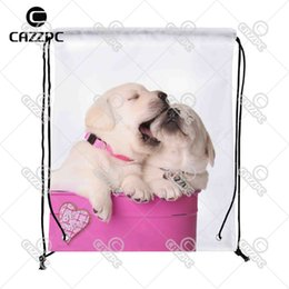 Wholesale Wholesale Valentine Containers - Wholesale- Cute Valentine Puppies Dog pet in a Pink Container with a Heart Print Custom Nylon fabric Drawstring Backpack Gift Bag Pack of
