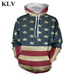 Wholesale American Flag Hoodies - Wholesale- Vintage Stars and Stripes Print Men Fleece Hoodie Boy Hip Hop Hooded Sweatshirt Pocket Hoody American Flag Pullover Tops Oct27
