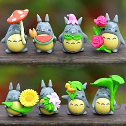 Wholesale Miniature Figures Set - 8pcs set Resin My Neighbor Totoro Miniatures 2.6*3.5cm Home Garden Micro Landscape Decoration Japanese Anime Figures DHL Shipping Free